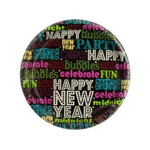 Bulk Buys Happy New Year Word Art Party Plates, Case of 24