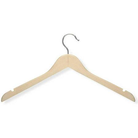Honey Can Do 5-Pack Basic Shirt Hanger, Maple Finish
