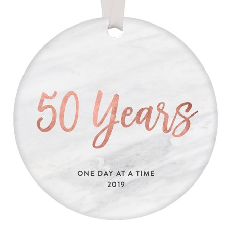 50 Years One Day At A Time Keepsake Ornament Christmas 2019 Milestone 50th Anniversary Recovery Gift Ideas Clean & Sober Men Women Holiday Present Sleek Rose Gold Marble 3