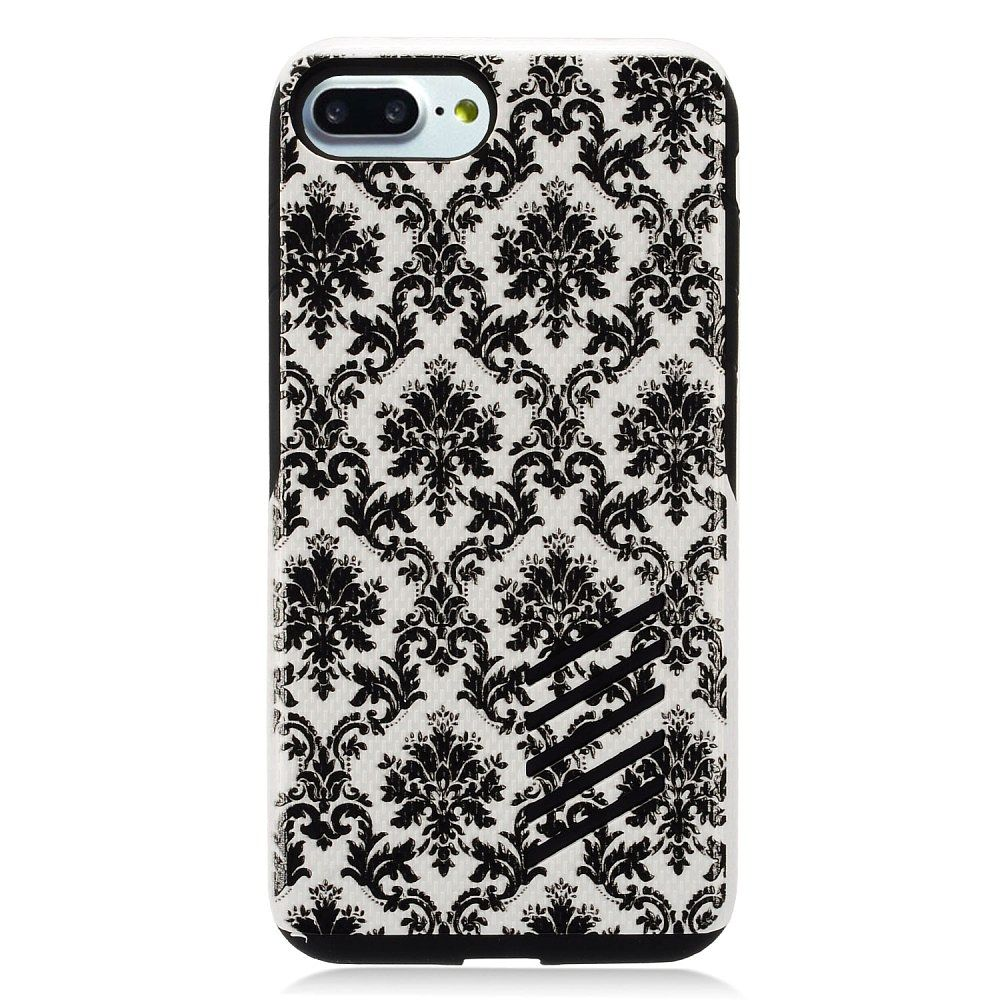 EagleCell Lace Flower Hard Dual Layer TPU Case For Apple iPhone 8 Plus / iPhone 7 Plus - Black/White
