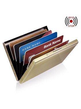 Anti-scan Stainless Steel Case Slim RFID Blocking Wallet ID Credit Card Holder - Gold
