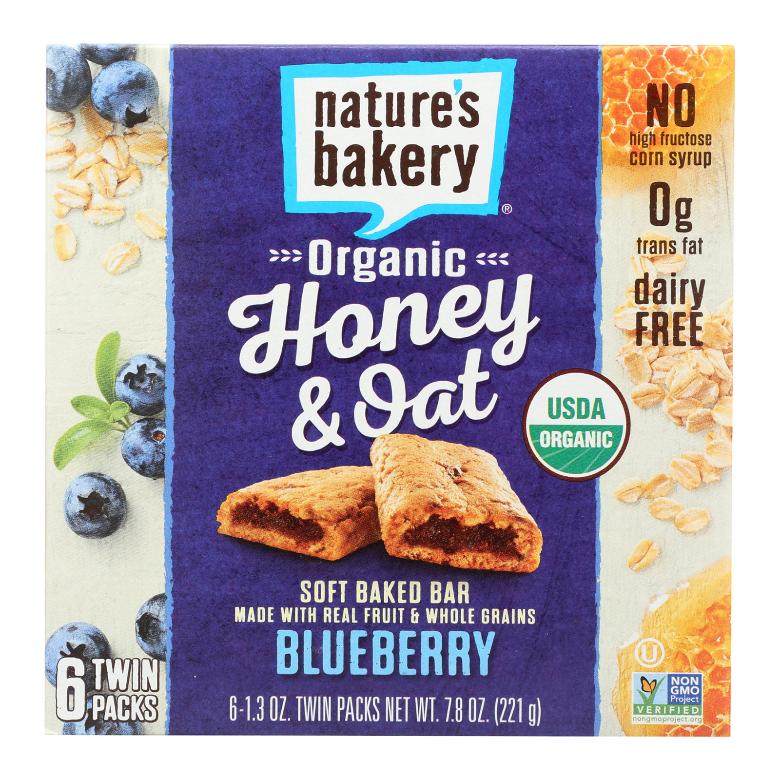 Nature's Bakery Organic Honey and Oat Bar - Blueberry - C...