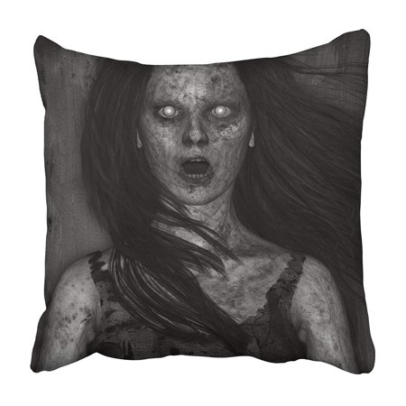 ARHOME Creepy 3D of Scary Ghost Woman in The Dark Horror Mixed Media Death Demon Devil Evil Pillowcase 18x18 inch - Scary Demon
