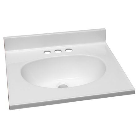 Design House 551242 19-Inch by 17-Inch Marble Vanity Top/Single Bowl, Solid White Contour Single Bowl Bathroom Vanity