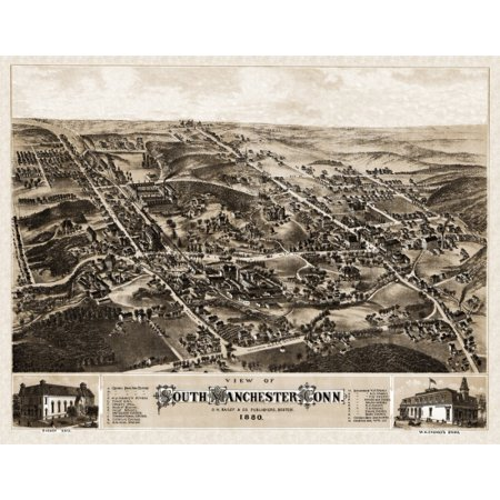 - Old Map of Manchester Connecticut 1880 Tolland County Poster Print