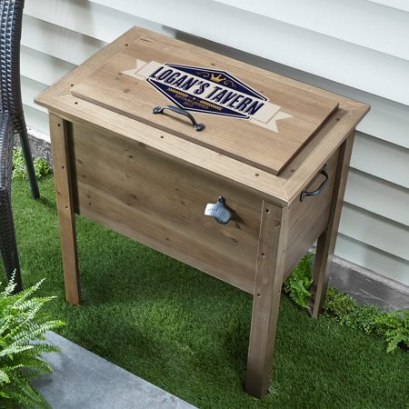 Personalized Outdoor Wood Beverage Cooler - Available in Burgundy and -