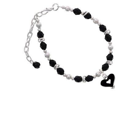 Black and White Enamel Heart Black Beaded - Black And White Hearts