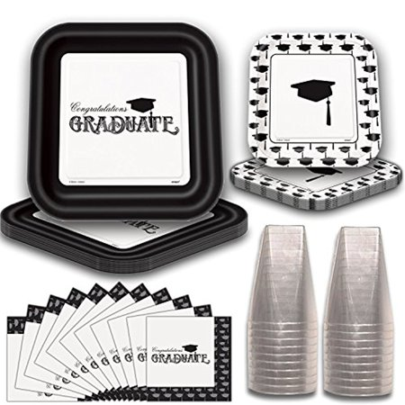 Graduation Party Tableware for 20. Elegant Black and White Design. Square Paper Dinner Plates and Dessert Plates, Napkins and Plastic Square - Elegant Paper Plates Napkins
