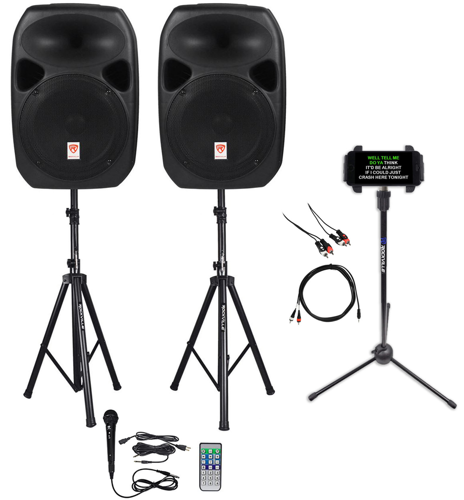 "Rockville RSG10 10"" 400 Watt 2Way 8-Ohm Passive DJ PA Speaker Stands Cables 2"