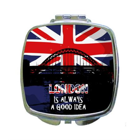 London is Always A Good Idea - Expression - London Bridge - British Flag - Compact Square Face/Makeup Mirror (Pocahontas Makeup Ideas)