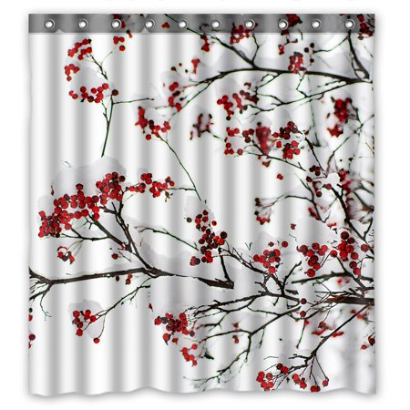 YKCG Winter Season Landscape Clusters of Red Rowan Berry under the Snow Shower Curtain Waterproof Fabric Bathroom Shower Curtain 66x72 -