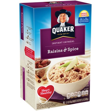 Quaker Instant Oatmeal, Raisin & Spice, 10 Count