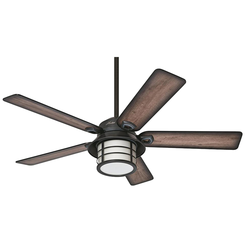 "Hunter 59135 Key Biscayne 54"" Weatherized Zinc Ceiling Fan With 5 Gray Pine Blades"