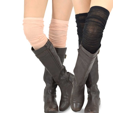 Women's Fashion Extra Long Cotton Thigh High Socks - 2 Pair Pack