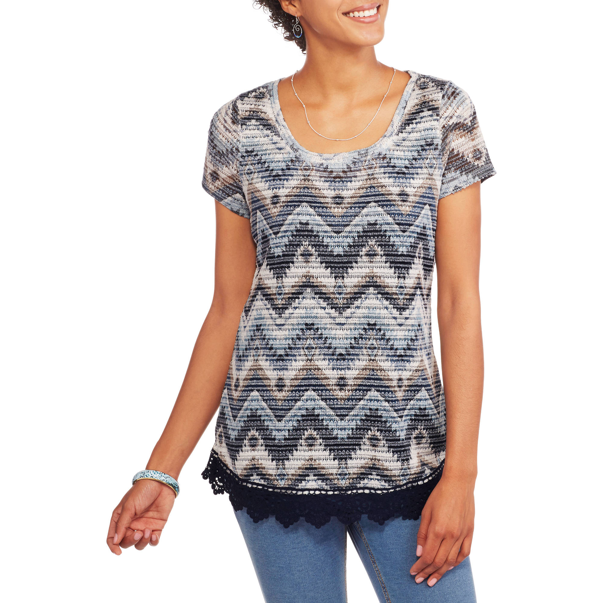 Absolutely Famous Women's Textured 2fer Top with Crochet Trim