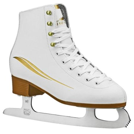 Lake Placid Women's Cascade Figure Ice Skates (White Gold Accent 10) by