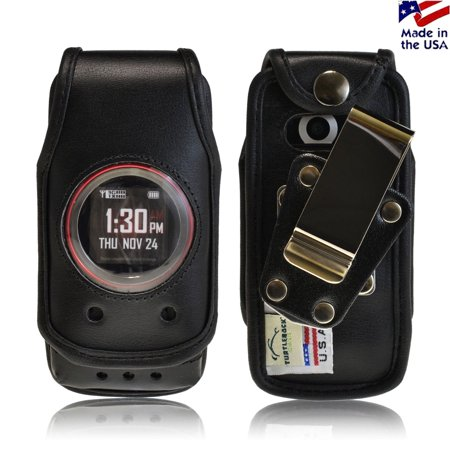 Usa Black Leather (Turtleback Fitted Case made for Casio GzOne Ravine 2 Phone Black Leather Rotating Removable Metal Belt Clip Made in USA )