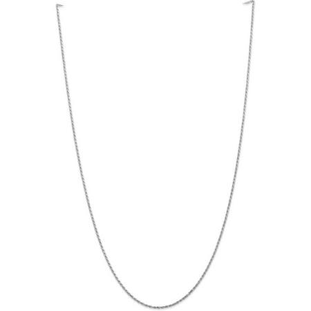 10k White Gold 1.3mm Machine Made Diamond Cut Rope Chain