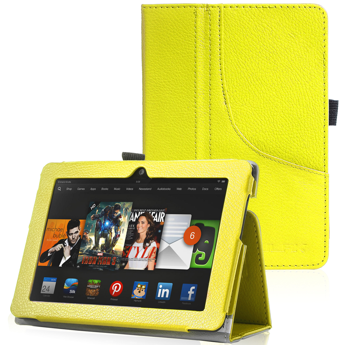 ULAK PU Leather Folio Stand Case Cover for Amazon Kindle Fire HDX 7 Inch 2013 Release with Auto Sleep/Wake Feature, Orange