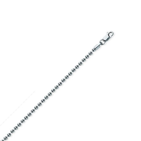 Bead Closure (Sterling Silver Rhodium Plated 2mm Bead Chain Necklace Lobster Claw Closure - Length: 18 to 24)