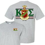 Kappa Sigma Standard T-Shirt - Crest and Greek Letter Back Imprint ��� White & Sport Gray