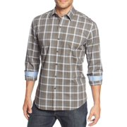 Tasso Elba NEW Brown Blue Mens Size 18 1/2 Plaid Print Dress Shirt $59