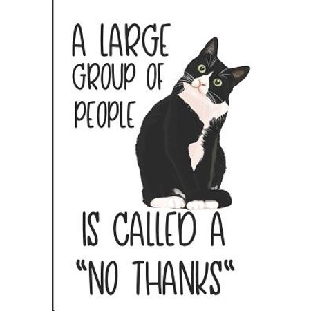 A Large Group of People Is Called a No Thanks: Crazy Cat Lady Blank Lined Note Book