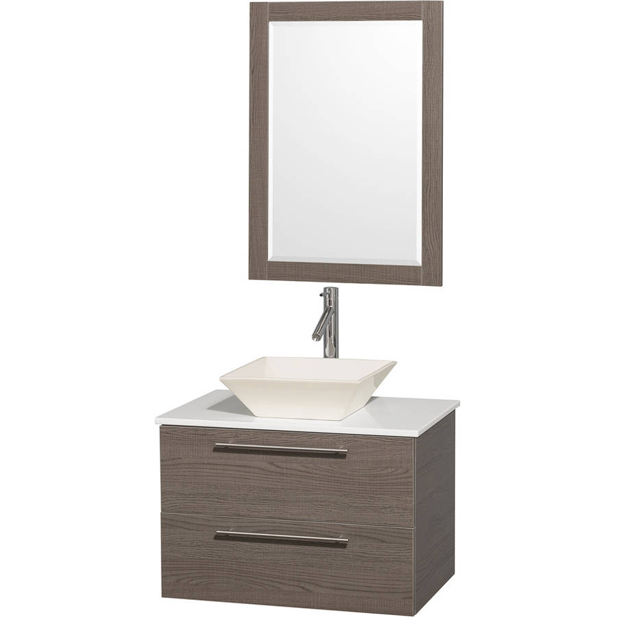 Wyndham Collection Amare 30 inch Single Bathroom Vanity in Gray Oak with White Man-Made Stone Top with Bone Porcelain Sink, and 24 inch Mirror