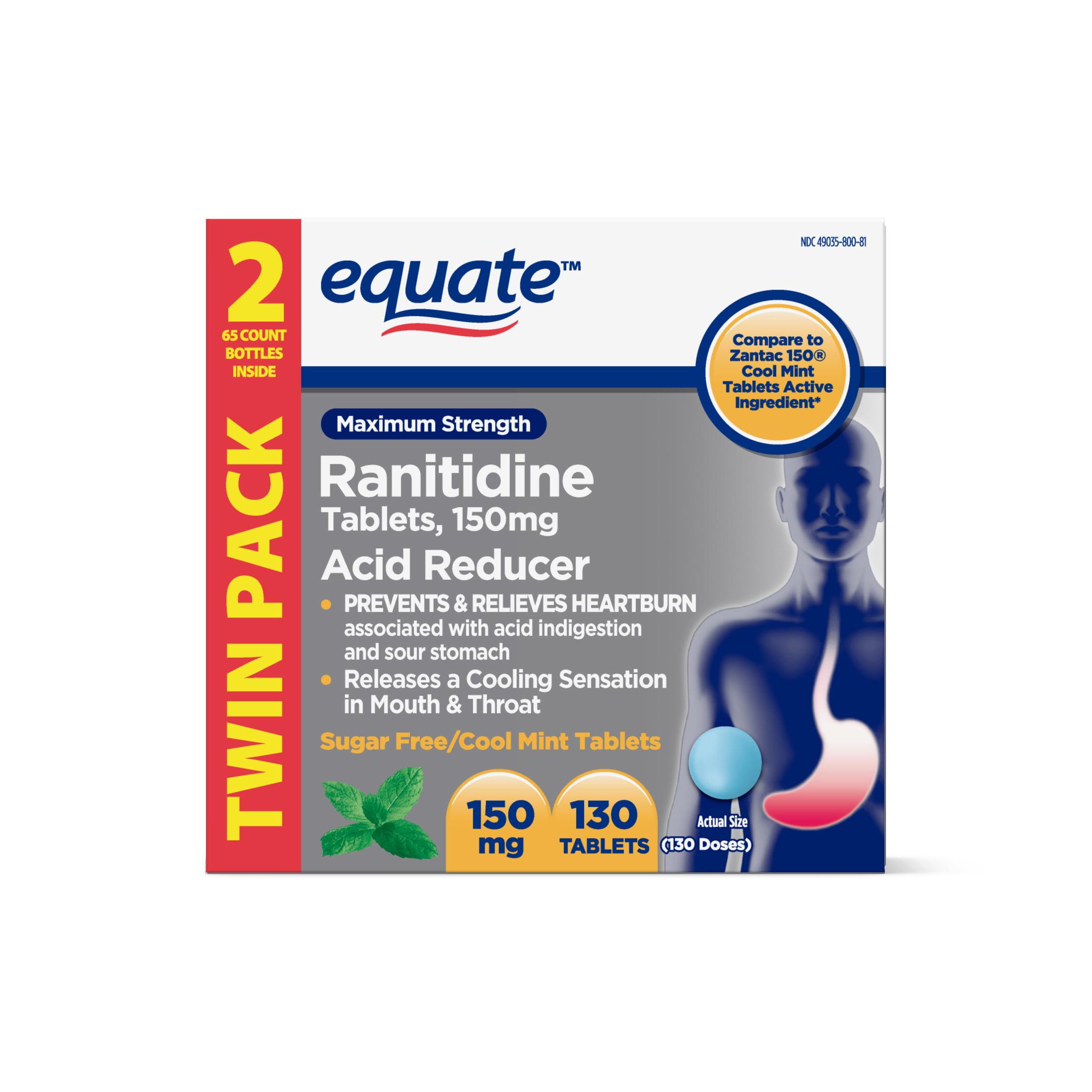 Equate Ranitidine Acid Reducer Cool Mint Tablets, 150mg, 2PK (65 ea.)