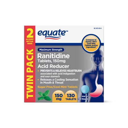Equate Maximum Strength Ranitidine Acid Reducer Sugar Free Cool Mint Tablets, 150 mg, 130 Count, 2 - Relief Sugar