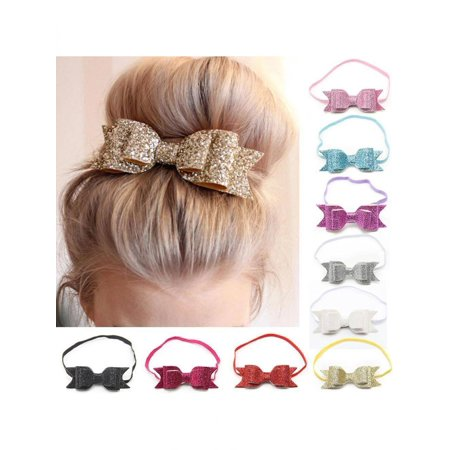 Directer Cute Kid Baby Girls Glitter Big Bow Knot Elastic Hair Band Headwear - Custom Big Heads