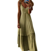 S-5XL Summer Sleeveless Gradient Color Maxi Dress for Women Casual Oversized Long Dress Beach Holiday Party Ladies V Neck A-Line Sundress