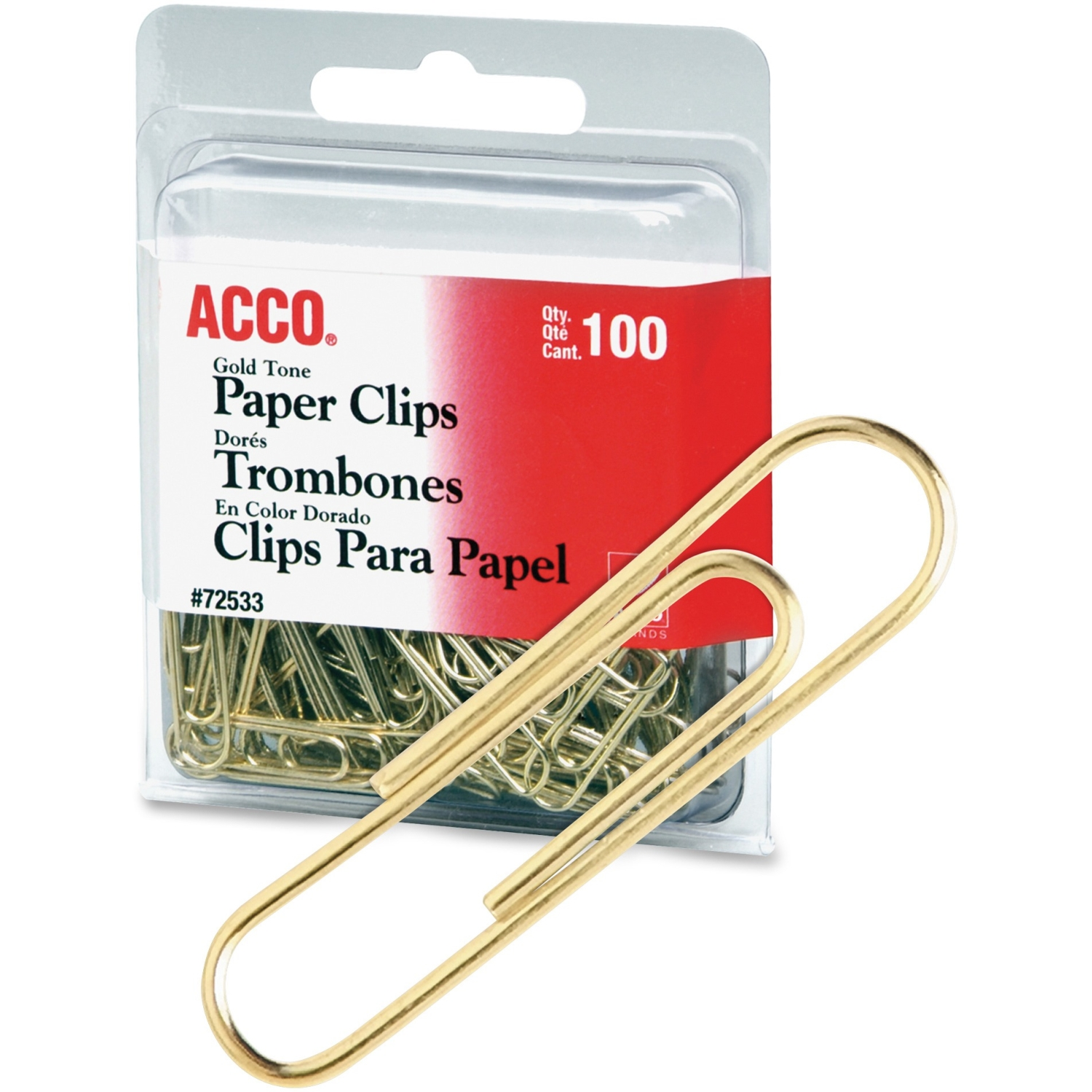 Acco Gold Tone Paper Clips - Regular - No. 2 - 10 Sheet Capacity - For Office, Home, School, Document, Paper - Sturdy, Flex Resistant, Bend Resistant - 400 / Pack - Gold (acc-72554)