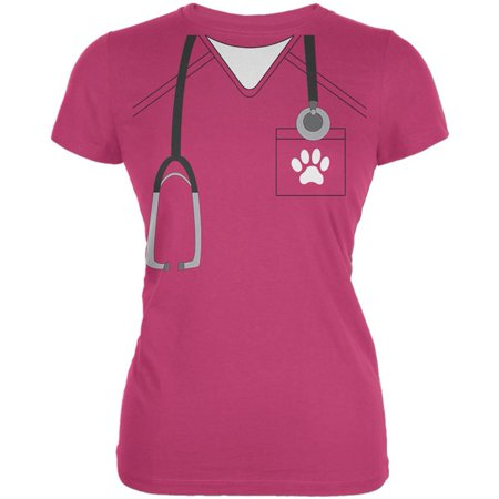 Halloween Vet Veterinarian Scrubs Costume Juniors Soft T - Vet Costumes