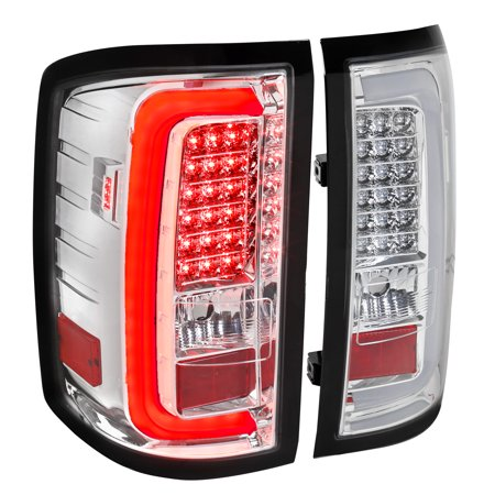 Spec-D Tuning For 2014-2018 Gmc Sierra 1500 2500Hd 3500Hd Chrome Clear Rear Brake Lamps Led Bar Tail Lights (Left+Right) 2014 2015 2016 2017