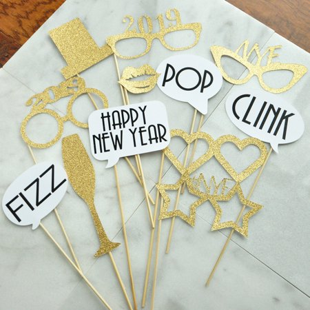 New Years Eve Photo Booth Props. Set of 12 Props. New Years Eve Decorations 2019. NYE Photbooth Props.](Nye Party)