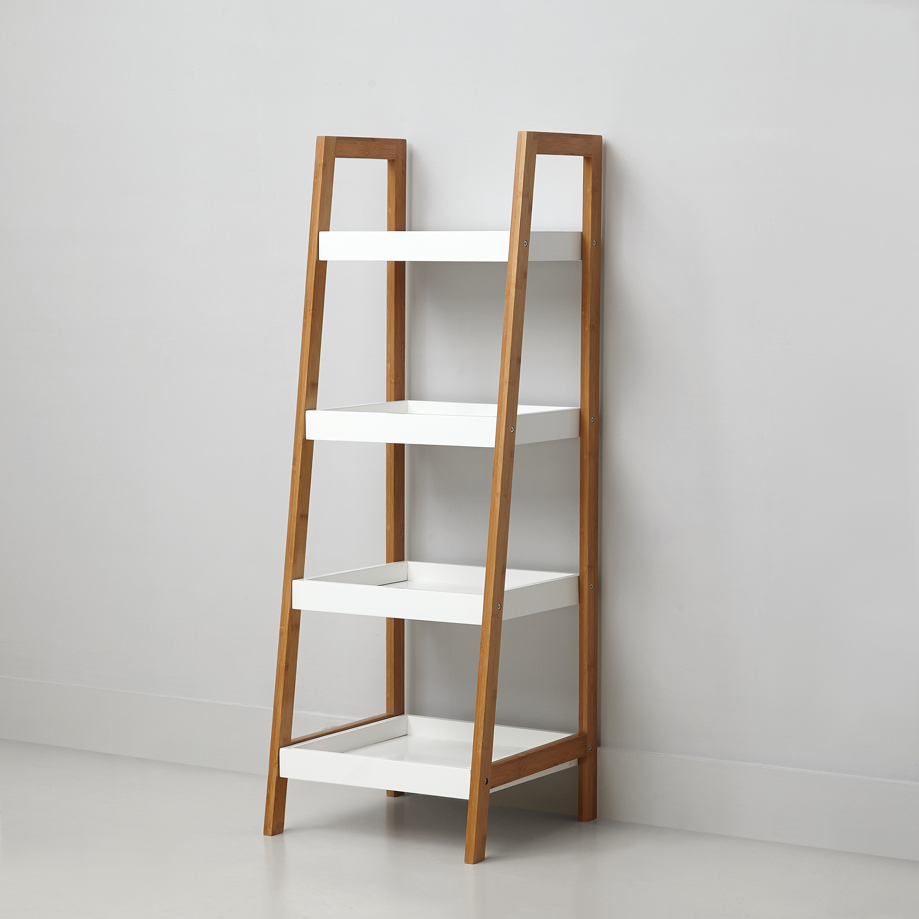 Mainstays Bamboo Collection 4 Tier Shelf, White
