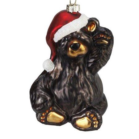 - Big Sky Friendly Santa Bear Glass Ornament