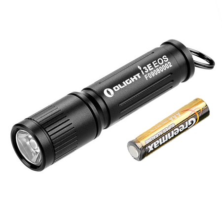 Olight I3E EOS 90 Lumen Keychain LED Flashlight - 1x AAA (Black) Led Lighted Logo Keychain