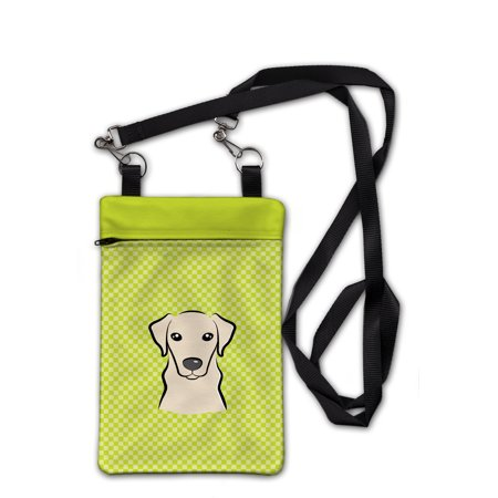 Checkerboard Lime Green Yellow Labrador Crossbody Bag Purse BB1284OBDY