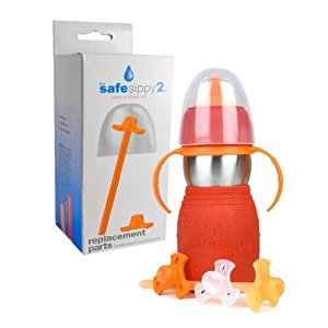 The Safe Sippy 2 2-in-1 Sippy to Straw Bottle with Replacement Parts, Red