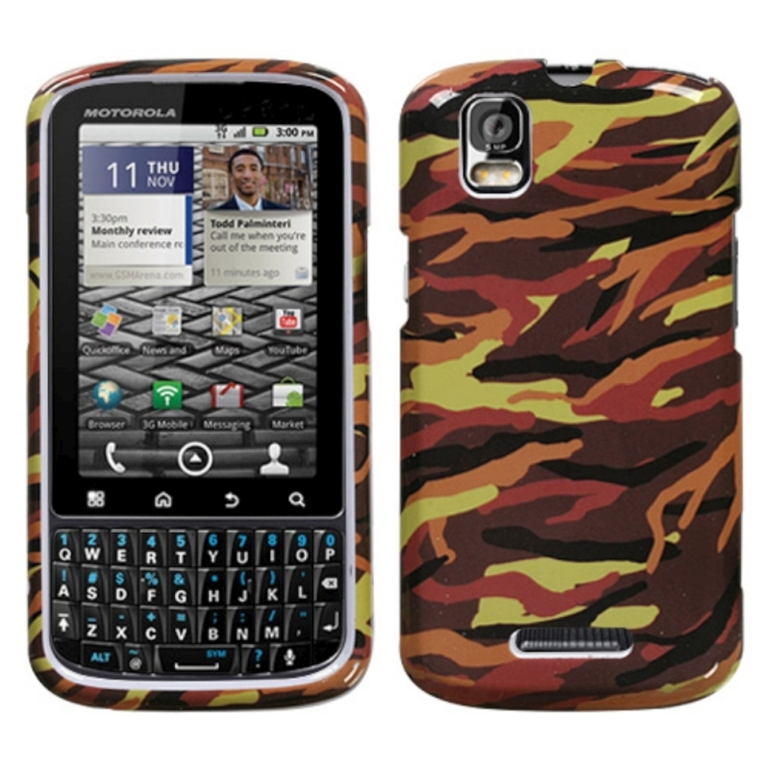Insten Camo/Yellow Phone Case for MOTOROLA: XT610 (Droid Pro)