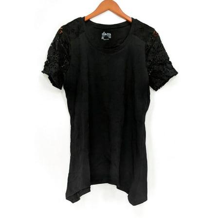 - Denim & Co. Women's Top Sz S Short Sleeve Trapeze Lace Black A290285