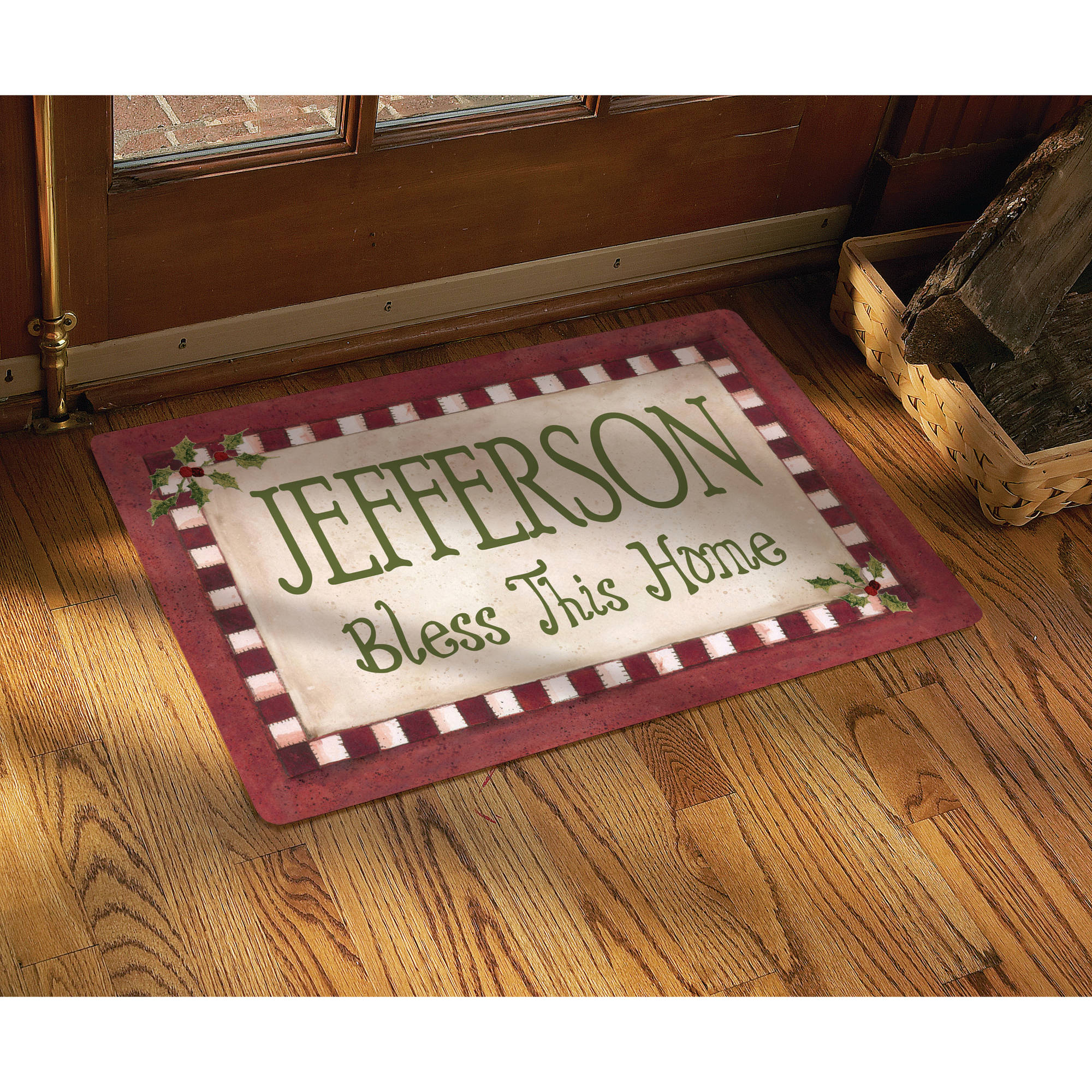 "Personalized ""Bless This Home"" Christmas Doormat-17"" x 27"""