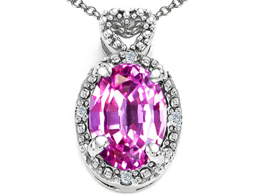 Tommaso Design Oval 8x6mm Simulated Pink Tourmaline Pendant Necklace by