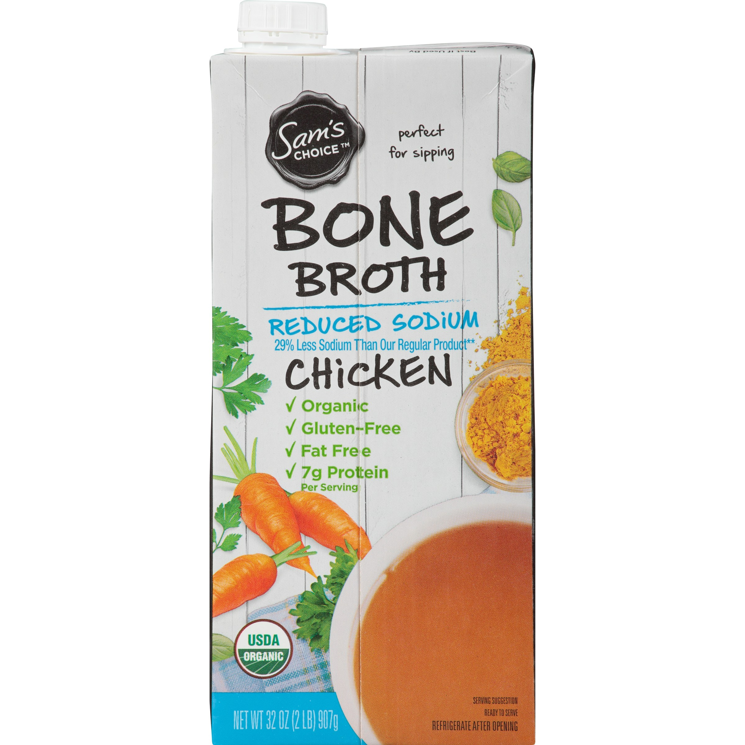 (6 Pack) Sam's Choice Organic Chicken Bone Broth, Reduced Sodium, 32 oz