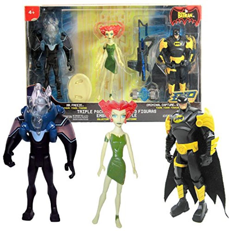 Mattel Year 2006 The Batman EXP Extreme Power Series 3 Pack 5 Inch Tall Action Figure Set - MR. FREEZE, POISON IVY with Base and CRIMINAL CAPTURE BATMAN with Line Launcher and Power Key