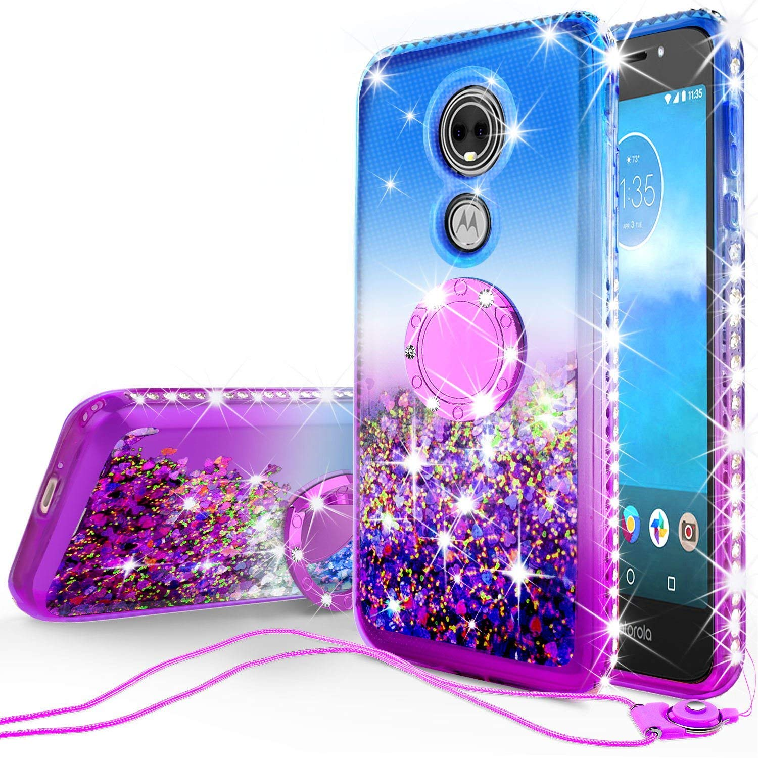 Moto E5 Cruise,Moto E5 Play Glitter Phone Case Ring Stand Liquid Floating Quicksand Bling Sparkle Cute Kickstand Protective Girls Women (Gradient Purple)