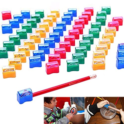 Pencil Sharpeners Kids Assorted Plastic Pencil Sharpener Set for School and Home 72 Pcs | Multicolored Manual... by Dazzling Toys