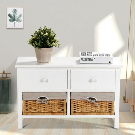 Costway Wood Storage Bench Organizer Shelf w/ 2 Drawer 2 Baskets - image 5 of 10